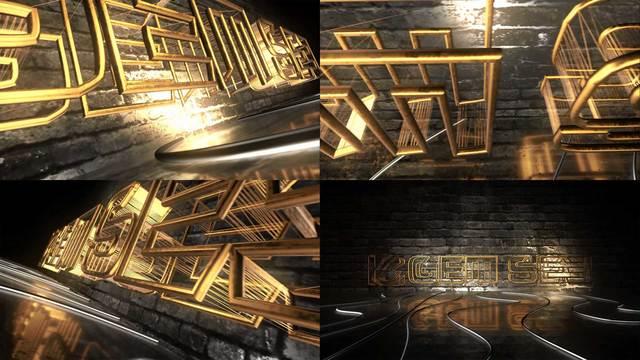 AE模板 LOGO展示 金色镂空霓虹灯管LOGO展示视频