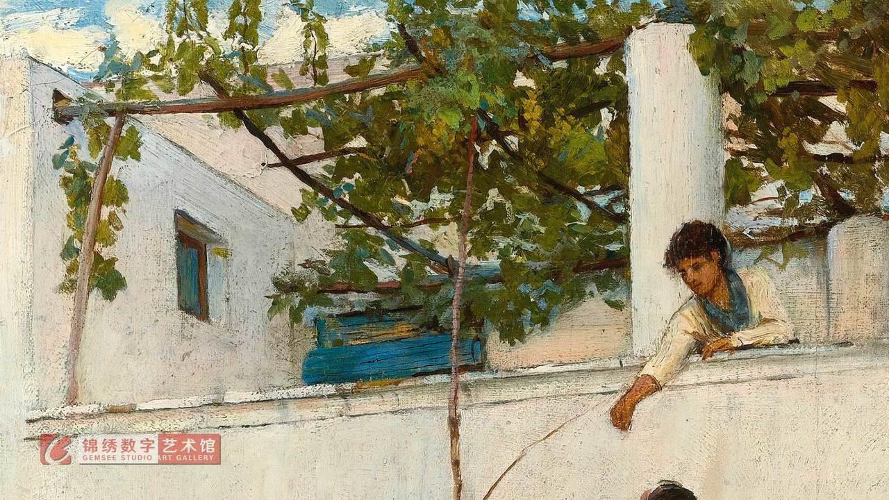 锦绣画屏 阳台上的少女 沃特豪斯