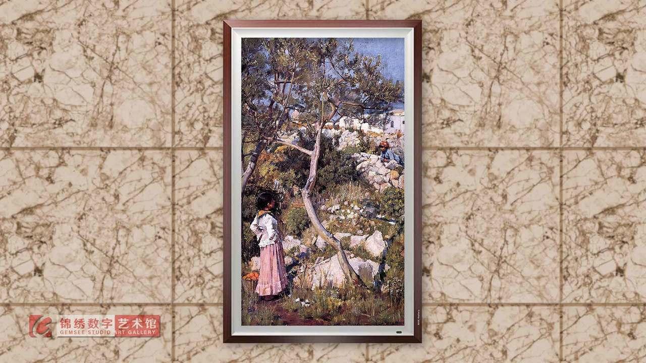 锦绣画屏 村庄旁的两个意大利小姑娘 沃特豪斯