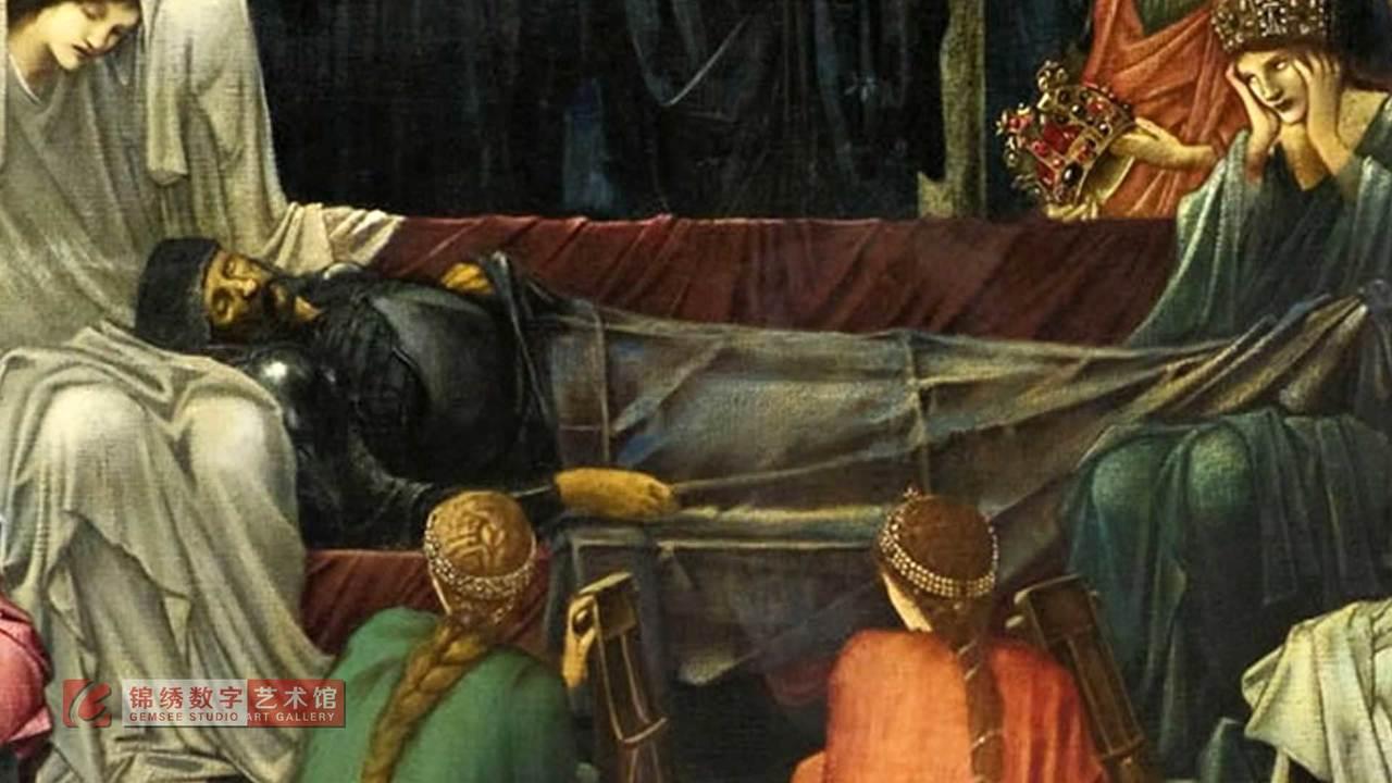画屏 亚瑟在阿瓦隆的最后一觉 伯恩琼斯