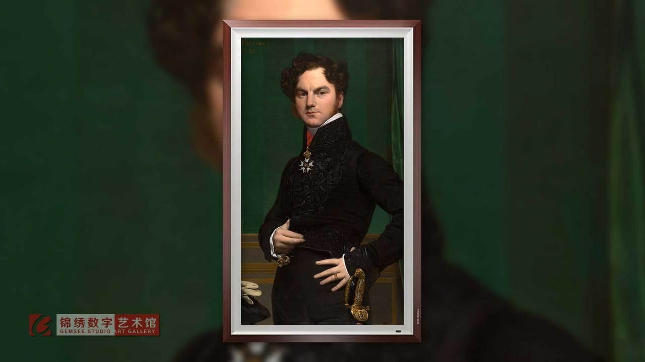 画屏 阿梅戴-大卫伯爵肖像 安格尔