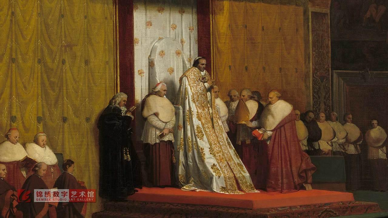 画屏 在西斯汀礼拜堂的教皇比护七世 安格尔