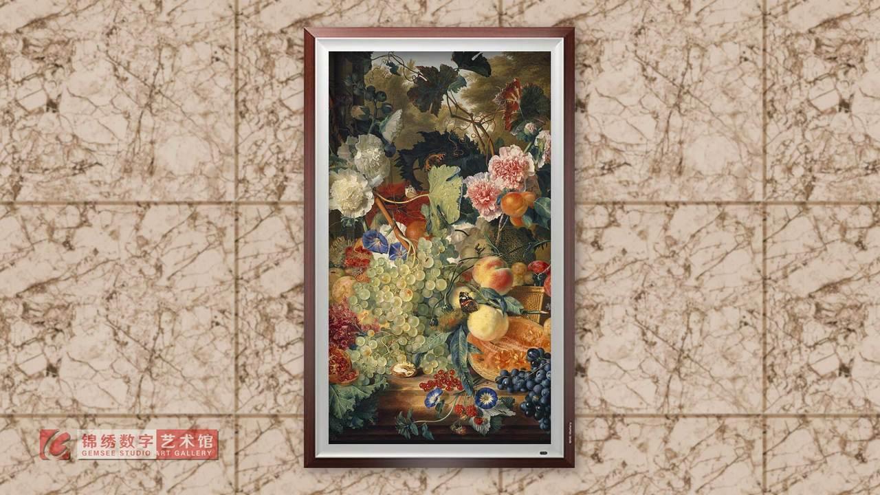 画屏 8K_静物大理石板上的鲜花 海以森