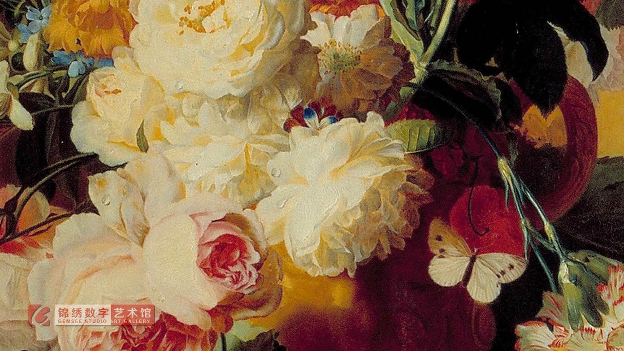 画屏 大理石板上花瓶里的花 海以森