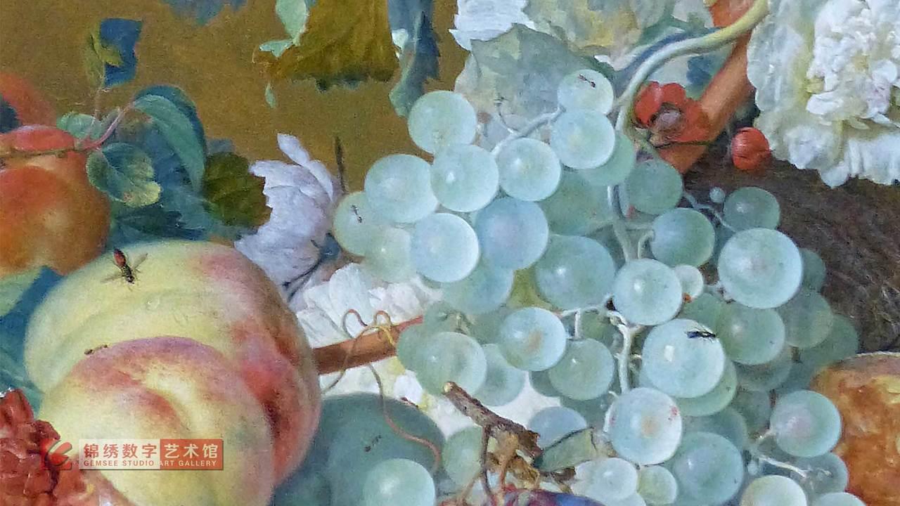 画屏 大理石桌上的半个瓜石榴和其他水果 海以森