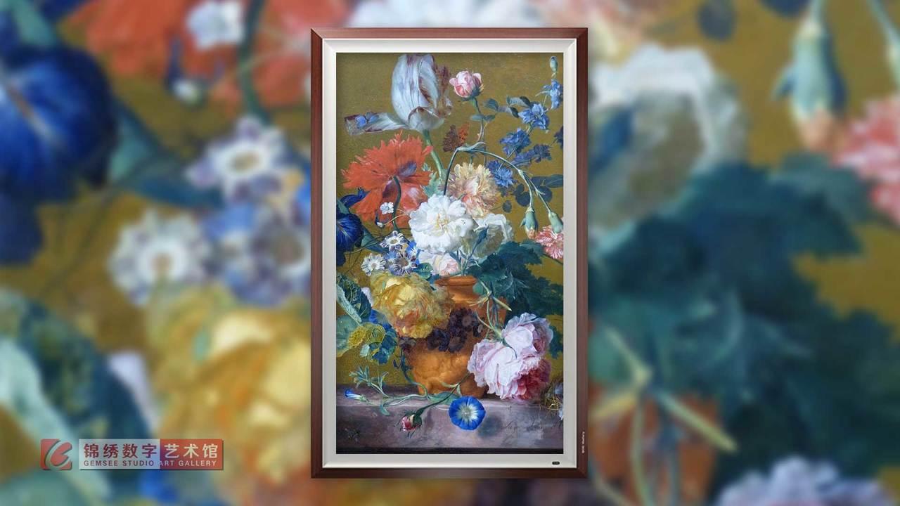 画屏 大理石桌上有鸟巢的陶土花瓶里的花卉静物画 海以森