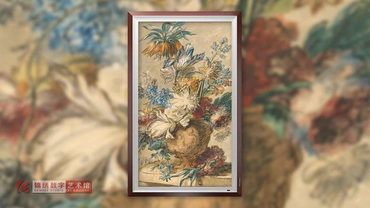 画屏 静物花瓶中的花束素描 海以森