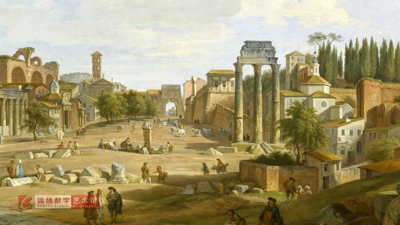 画屏 罗马广场景观 帕尼尼