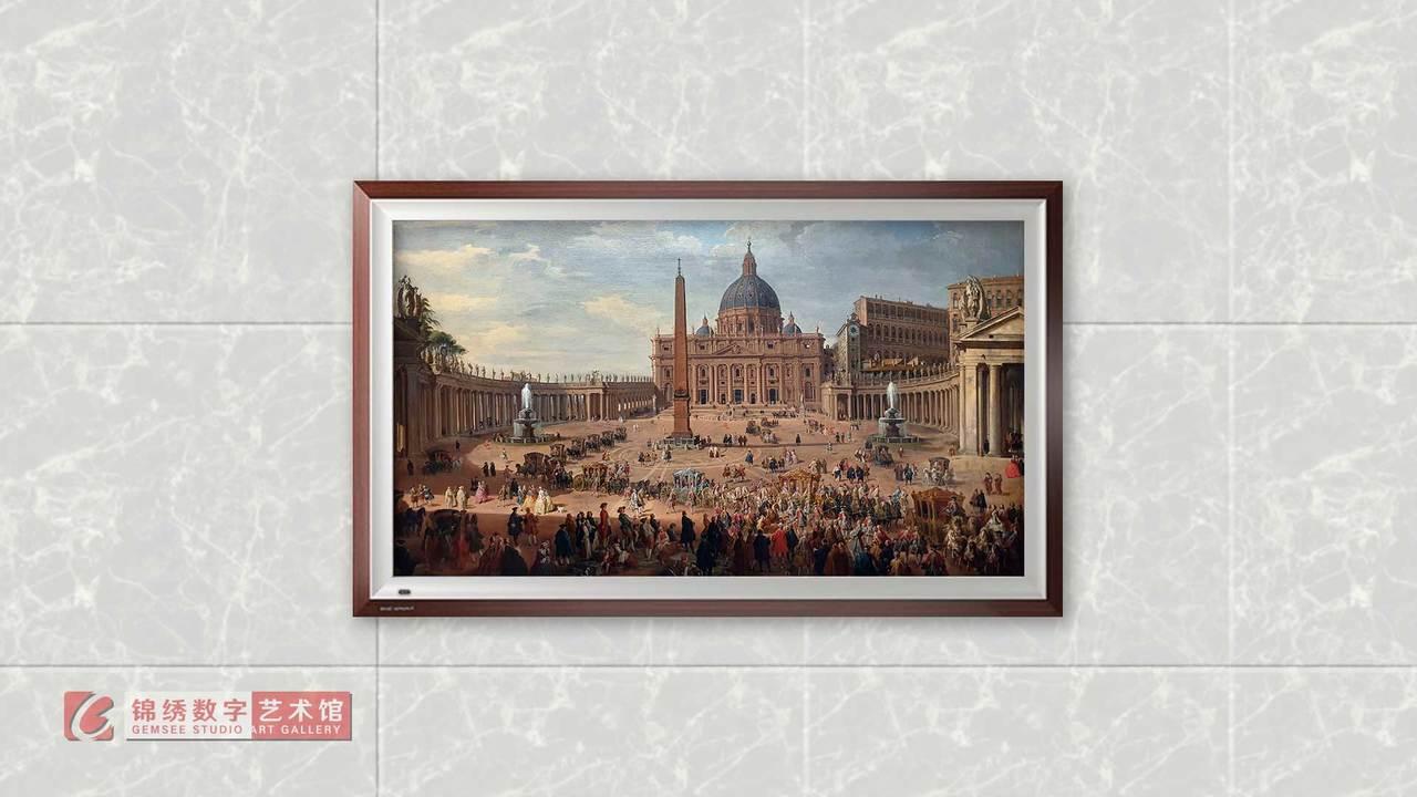 画屏 罗马圣彼得广场上的崔瑟尔公爵之旅 帕尼尼