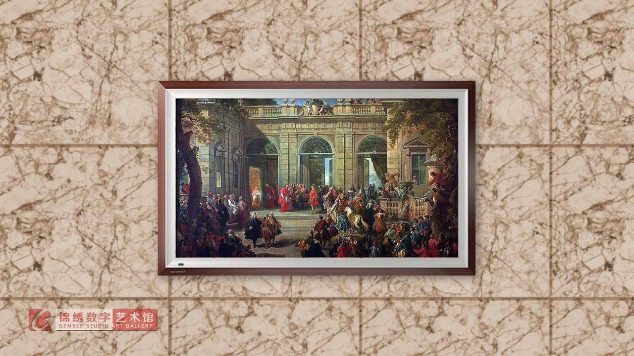 画屏 波旁王朝的查理三世在罗马基里纳尔咖啡馆拜访教皇本笃十四世 帕尼尼