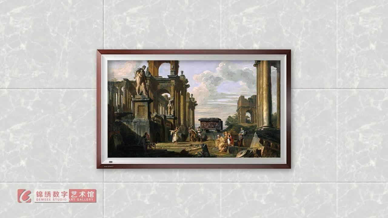 画屏 古遗迹中有哲学家和士兵的罗马论坛 帕尼尼