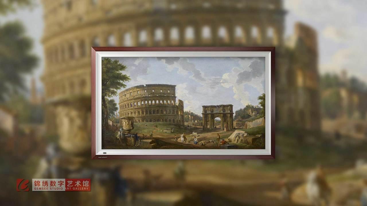 画屏 罗马竞技场景观 帕尼尼