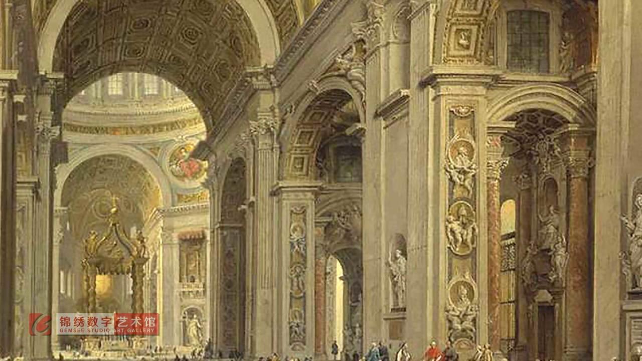画屏 罗马圣彼得教堂内部 帕尼尼