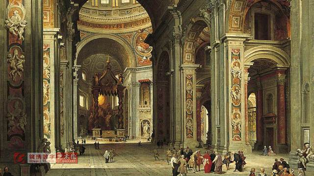 画屏 梵蒂冈圣彼得大教堂 帕尼尼