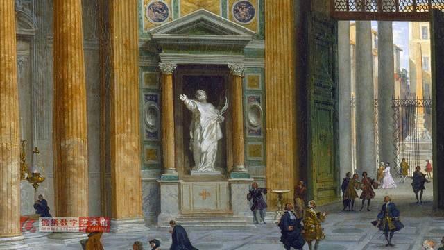 画屏 罗马万神殿内部 帕尼尼