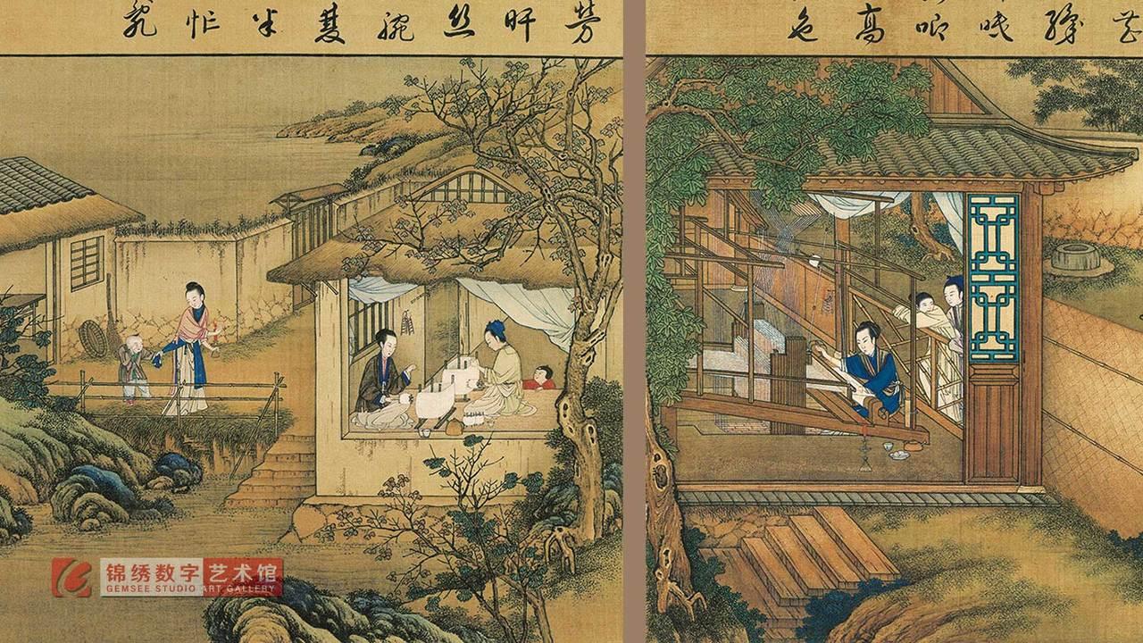 画屏 长卷-雍正耕织图册(之十四) 清 宫廷画师