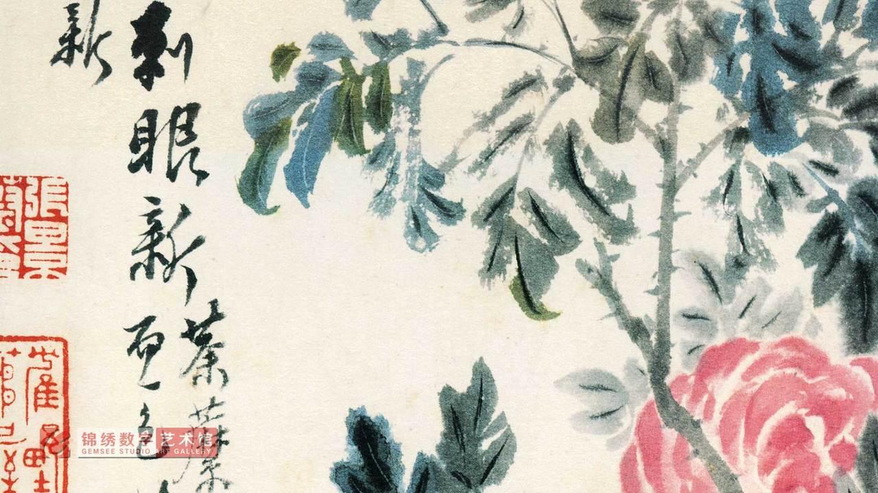 画屏 卉册-月季 清 石涛