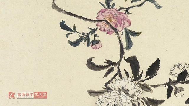 画屏 花卉册十帧-茶花 清 石涛