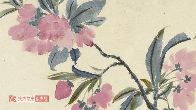 画屏 花卉册十帧-海棠 清 石涛