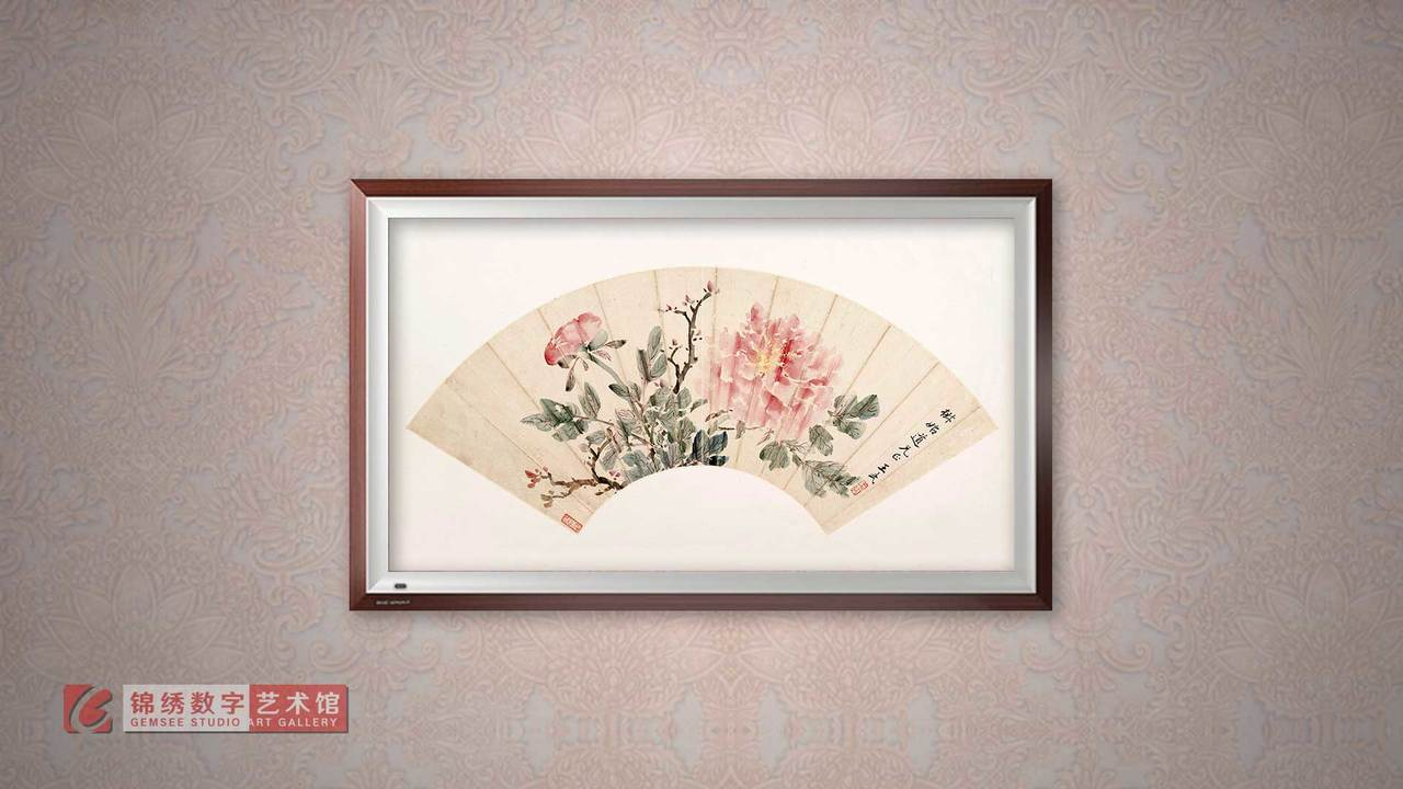 画屏 扇面-牡丹 清 王武