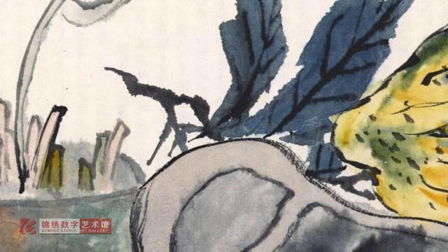 画屏 花卉册之4佛手古砚 清 蒲华