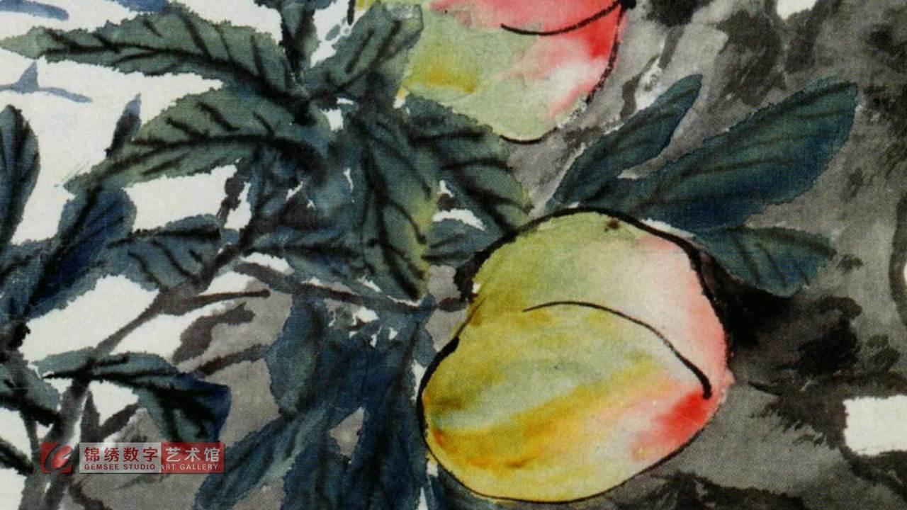 画屏 花卉册之12瑶池桃熟 清 蒲华